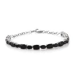 Black Tourmaline (Cush 8.35 Ct), Boi Ploi Black Spinel Bracelet (Size 8) in Platinum Overlay Sterlin