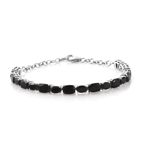 Black Tourmaline (Cush 8.35 Ct), Boi Ploi Black Spinel Bracelet (Size 8) in Platinum Overlay Sterlin