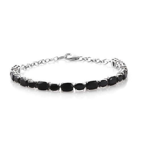 Black Tourmaline (Cush 8.35 Ct), Boi Ploi Black Spinel Bracelet (Size 8) in Platinum Overlay Sterling Silver 13.500 Ct, Silver wt 7.69 Gms.