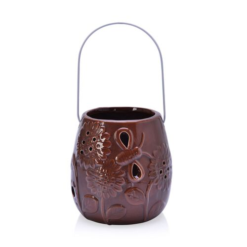 Chocolate Colour Sunflower Pattern Ceramic Lantern