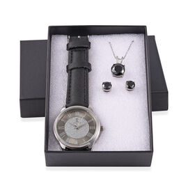 STRADA Japanese Movement Star Dust Watch, Pendant with Chain and Earrings Set in a Gift Box - Simula
