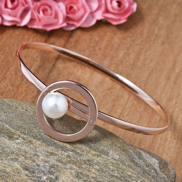 Sundays Child - Freshwater Pearl Bangle (Size 7.5) in Rose Gold Overlay Sterling Silver Silver Wt 15.41 Grams