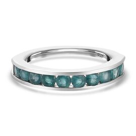 Grandidierite Half Eternity Band Ring in Platinum Overlay Sterling Silver 1.00 Ct.