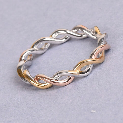 Platinum, Yellow and Rose Gold Sterling Silver Twist Ring