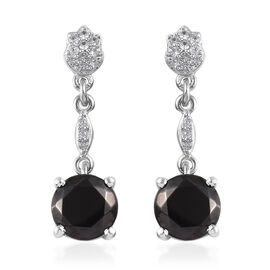 Elite Shungite (Rnd), Natural Cambodian Zircon Earrings (with Push Back) in Platinum Overlay Sterlin