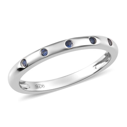 Royal Ceylon Sapphire Band Ring in Platinum Overlay Sterling Silver