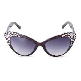 Shiny Crystal Mine Frame Cats Eye Sunglasses with UV Protection Lenses Including Hard Plastic Black Pouch