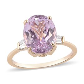 9K Yellow Gold  Martha Rocha Kunzite and White Diamond Ring 5.10 Ct.