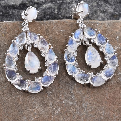 Sri Lankan Rainbow Moonstone (Pear), Natural Cambodian Zircon Drop Earrings (with Push Back) in Platinum Overlay Sterling Silver 16.250 Ct. Silver wt 7.13 Gms.