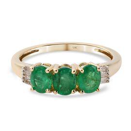 9K Yellow Gold Santa Terezinha Emerald and Diamond Ring 0.950 Ct.