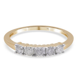 9K Yellow Gold White Diamond Ring in Rhodium Overlay 0.50 ct, Gold Wt. 1.92 Gms 0.500 Ct.