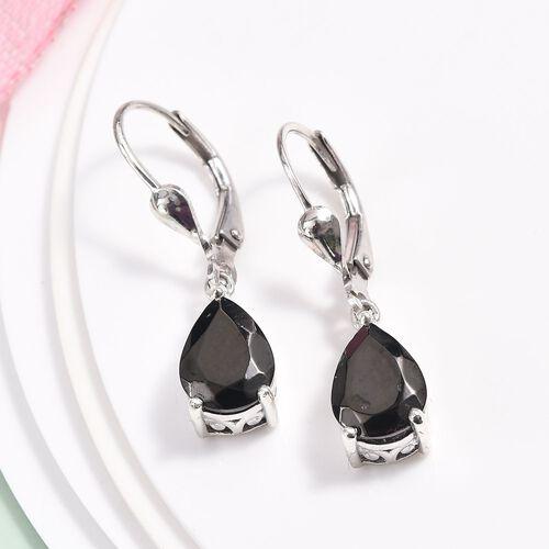 Elite Shungite Lever Back Drop Earrings in Platinum Overlay Sterling Silver 2.00 Ct.
