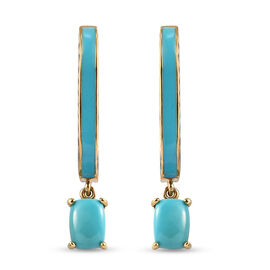 Arizona Sleeping Beauty Turquoise Earrings in Gold Overlay Sterling Silver 1.75 ct,  Silver Wt. 6.2