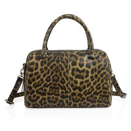 HKK Close Out- 100% Super Soft Genuine Leather Leopard Print Duffle Bowling Bag (Size 29x23x10 Cm)
