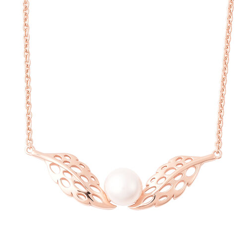 RACHEL GALLEY - Freshwater White Pearl Feather Necklace (Size 24)  in Rose Gold Overlay Sterling Sil