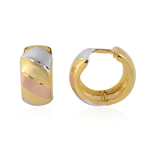 Three Tone Hoop Earrings in 9K Yellow Rose and White Gold 2.05 Grams
