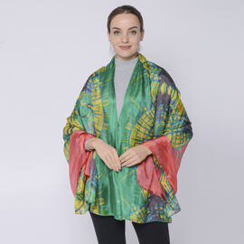 LA MAREY 100% Mulberry Silk Abstract Pattern Womens Scarf (Size:175x110Cm) - Green