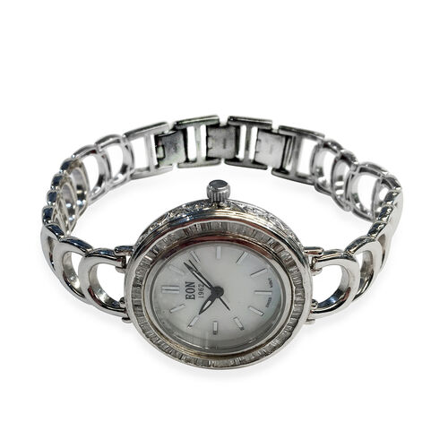 EON 1962 Swiss Movement Diamond Adorned Watch (Size 7 with 1 inch Extender) in Platinum Overlay with