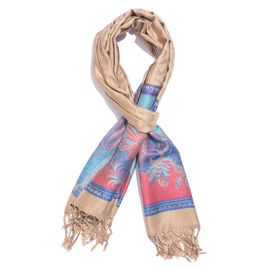 Beige, Purple and Multi Colour Floral and Leaves Pattern Scarf with Tassels (Size 190X70 Cm)