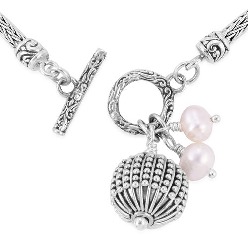 Royal Bali Collection- Fresh Water Pearl Bracelet (Size 7) with Charms in Sterling Silver, Silver wt 11.21 Gms.