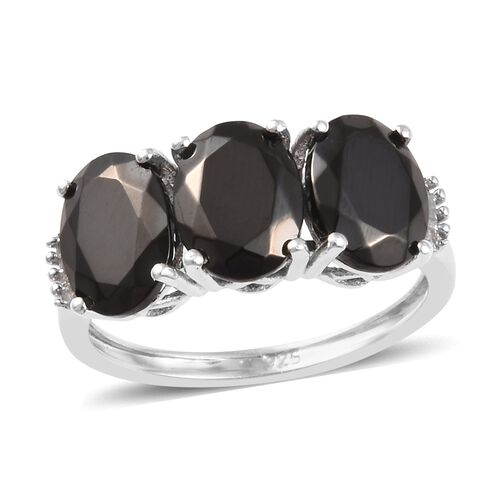2.25 Ct Elite Shungite and Diamond Trilogy Ring in Platinum Plated Sterling Silver