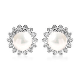 Freshwater White Pearl and Simulated Diamond Sunflower Earrings (with Push Back) in Rhodium Overlay