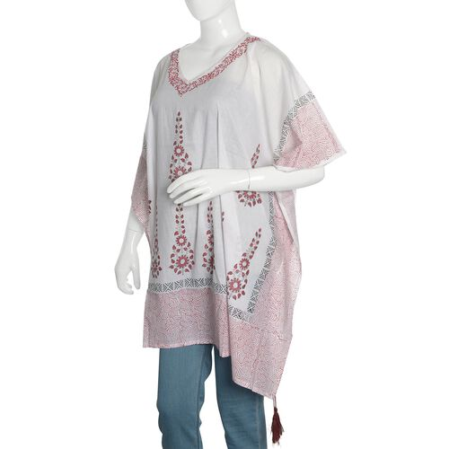 New Season-100% Cotton Red, Black and White Colour Hand Block Floral Printed Kaftan with Tassels (Free Size)