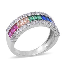 ELANZA Simulated  Rainbow Sapphire (Bgt and Rnd), Ring in Rhodium Overlay Sterling Silver