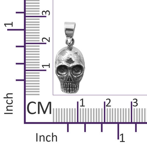 Sterling Silver Skull Pendant, Silver wt 6.18 Gms.