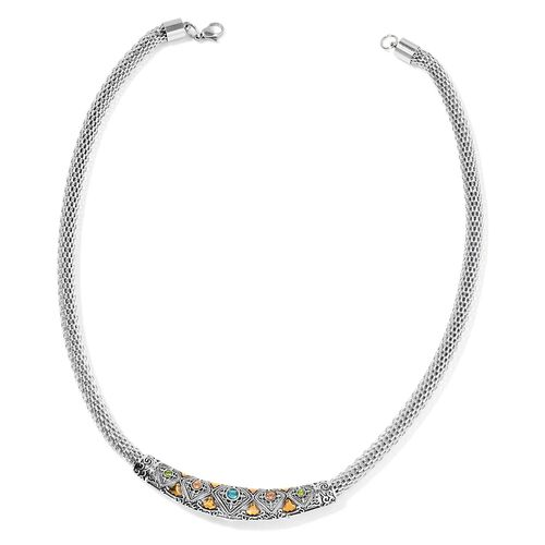 AAA Multi Colour Austrian Crystal Necklace (Size 20) in Stainless Steel
