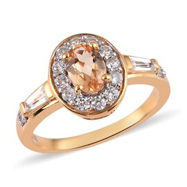 Golden Imperial Topaz and Natural Cambodian Zircon Ring in 14K Gold Overlay Sterling Silver 1.25 Ct.