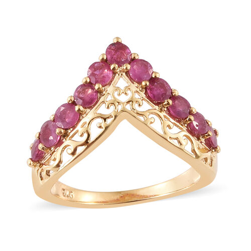 African Ruby (Rnd) Ring in 14K Gold Overlay Sterling Silver 1.250 Ct.