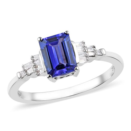 RHAPSODY 1.10 Ct AAAA Tanzanite and Diamond Ballerina Ring in 950 Platinum 4.40 Grams VS EF