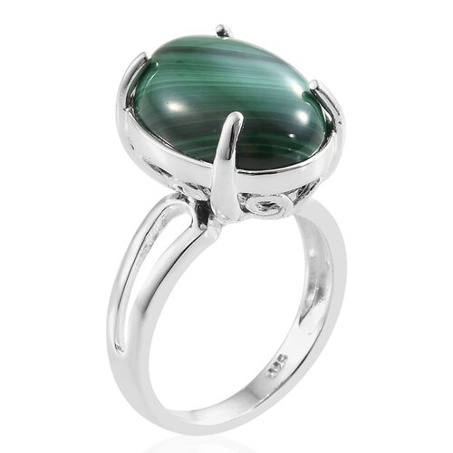 Malachite (Ovl) Ring in Sterling Silver 10.000 Ct, Silver wt 4.31 Gms.