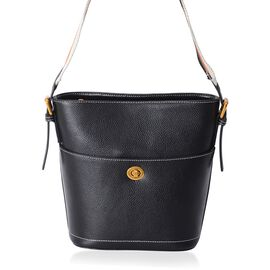 100% Genuine Leather Black Colour Shoulder Bag with External Zipper Pocket (Size 27x23x20x11.5 Cm)