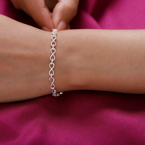 Designer Inspired - Sterling Silver Infinity Knot Bracelet (Size 7), Silver wt 6.10 Gms
