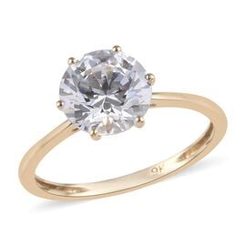 Super Auction- J Francis - 9K Yellow Gold (Rnd) Solitaire Ring Made with SWAROVSKI ZIRCONIA 2.04 Ct.