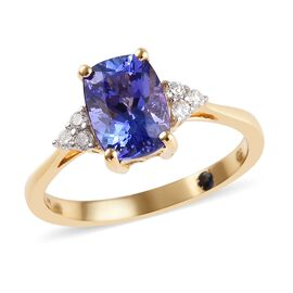 GP 1.65 Ct AA Tanzanite and Multi Gemstone Solitaire Design Ring in 14K Yellow Gold I1 I2 GH
