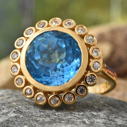 Marambaia Topaz (Rnd 10.25 Ct), Natural Cambodian Zircon Ring in 14K Gold Overlay Sterling Silver 10.750 Ct. Silver wt 5.69 Gms.