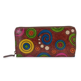 SUKRITI 100% Genuine Leather Rustic Spiral Geometric Pattern Wallet with RFID Blocker (Size 20x10 Cm