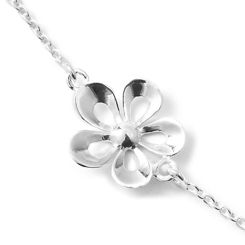 Sterling Silver Floral Necklace (Size 20), Silver wt 7.15 Gms.