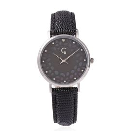 RACHEL GALLEY Diamond Studded Swiss Movement Watch With Embossed Genuine Leather Strap, Lattice Deta