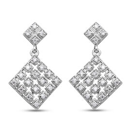 Moissanite Earrings (with Push Back) in Rhodium Overlay Sterling Silver
