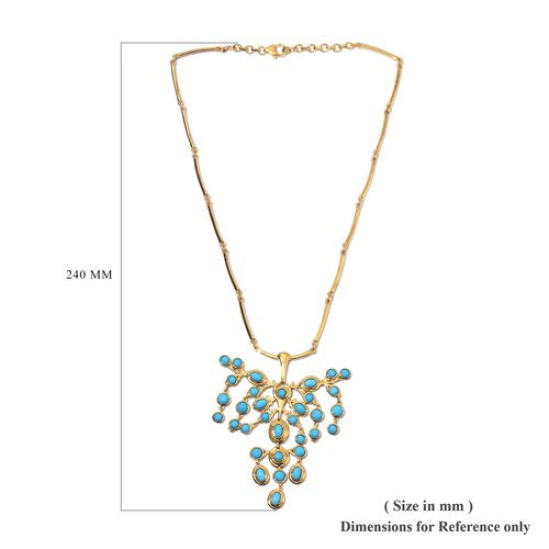 AA Arizona Sleeping Beauty Turquoise Draping Necklace (Size 18 with Extender) in 14K Gold Overlay Sterling Silver 12.00 Ct, Silver wt 29.00 Gms