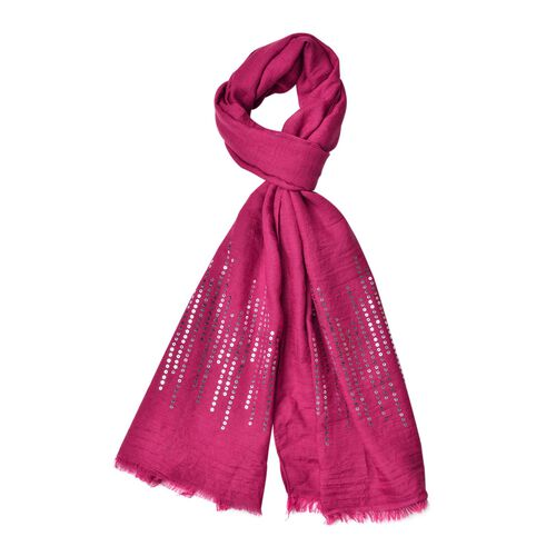 Silver Sequins Embellished Purple Colour Scarf with Fringes (Size 180X70 Cm)