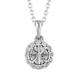 Diamond Cluster Pendant with Chain in Platinum Plated Silver 20 Inch