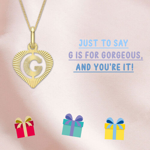 Children Diamond Cut G Initial Heart Pendant in 9K Gold