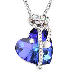 Simulated Tanzanite and White AB Austrian Crystal Heart and Rose Necklace (Size 20 with 2 inch Exten