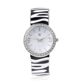 STRADA Japanese Movement White Austrian Crystal Studded Water Resistance Enamelled Cuff Bangle Watch