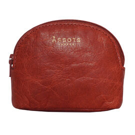 Assots London Lotty 100% Genuine Leather Zip Top Coin Purse in Red (Size 10x2x8.5 Cm)